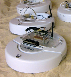 A team of iRobot Create robots at the Georgia Institute of Technology. Each robot is equipped with a Gumstix computer and a Bluetooth GPS unit (Image by Jiuguang Wang).