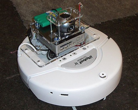 iRobot with mounted camera and minicomputer (Image by Jiuguang Wang).