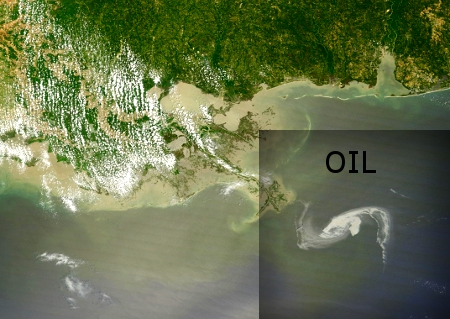 April 29 NASA Image of Oil Slick Off Louisiana Coast
