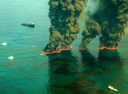 Workers Burn Off Some Gulf Oil Spill Petroleum Floating in Open Water