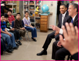 President Obama and DoE Secretary Arne Duncan Visit a Classroom
