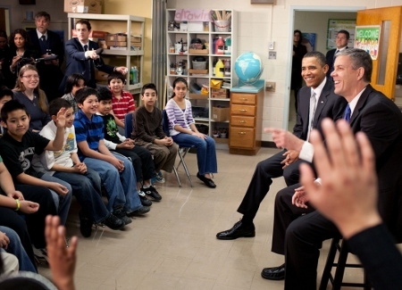 President Obama and ED Secretary Arne Duncan Visit a Classroom in Support of Race to the Top