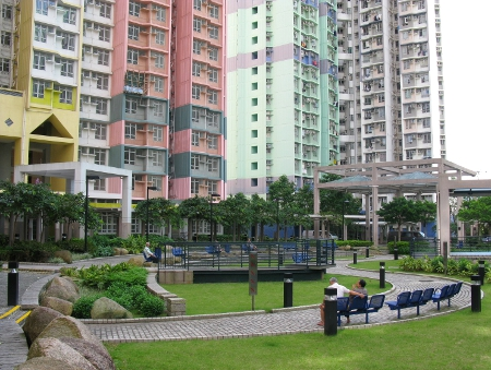 A City Park Near High-Rise Apartments