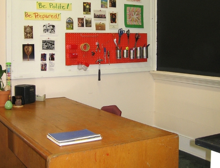 Empty Teacher's Desk