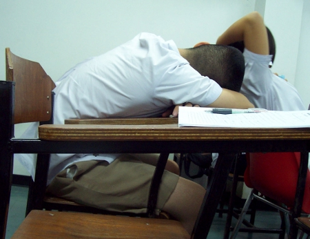 Student Sleeps in Class