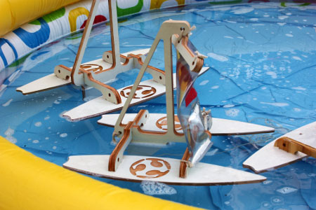 Specially Designed Boats Bob in Water