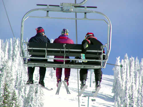 Riding The Chair Lift At Brundage