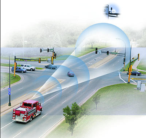 motion detectors changing signal for firetruck