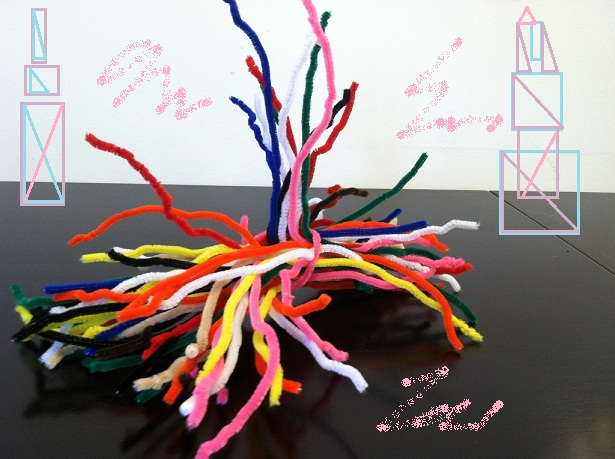 pipe cleaners with drawn towers