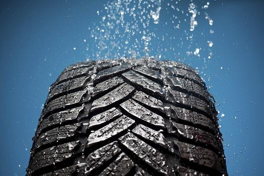 tire in rain