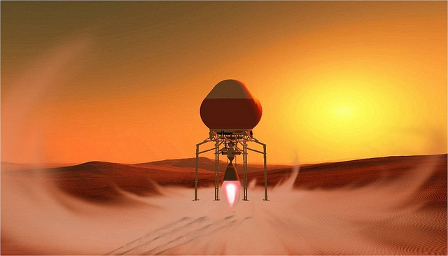 Mars hopper blasts off