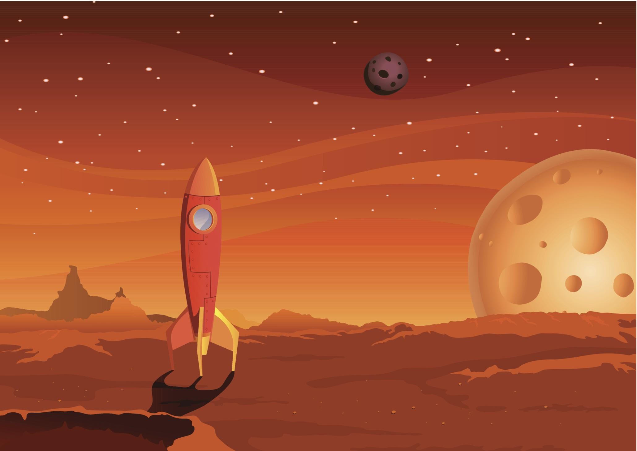 Spaceship on Martian landscape