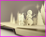 pop-up book of snowmen