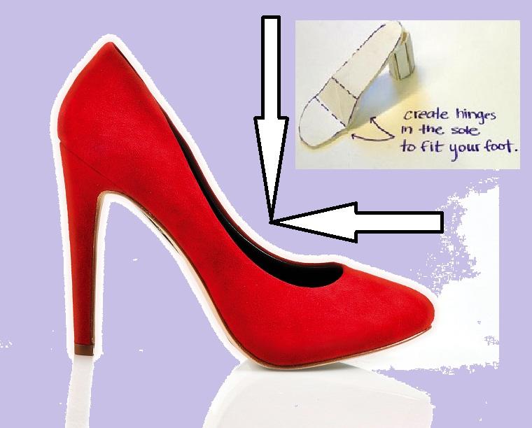shoe red high heel purple
