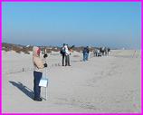 students conducting Cape Hatteras beach profile survey